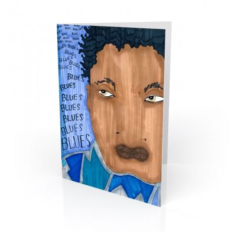 """""""Blues, Blues, Blues"""" Greeting Card, artwork by Aileen Ishmael"""