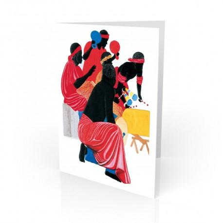 """African Drummers"" Greeting Card, artwork by Edwin Harris"