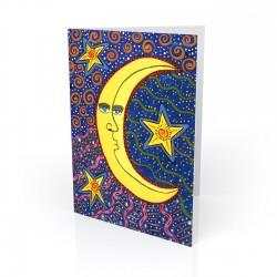 """The Moon & The Stars"" Greeting Card, artwork by Gwendolyn Scheers"