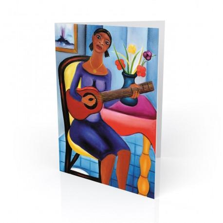 """Guitar Player"" Greeting Card, artwork by Fritzner Alfonse"
