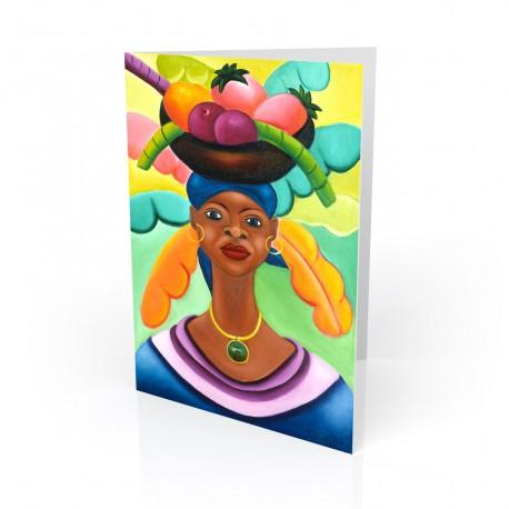 """Woman With Fruit"" Greeting Card, artwork by Fritzner Alfonse"