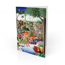 """Jungle  Scene With Hippo"" Greeting Card, artwork by Jerome Polycarpe"