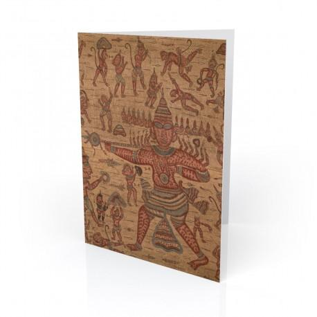 """""""Scene from the Ramayana"""" Greeting Card, with Indian Textiles artwork"""