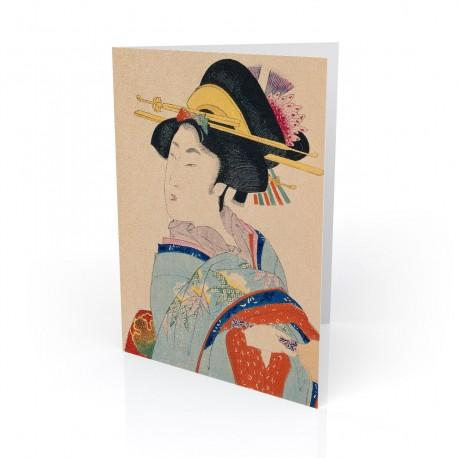 """Woman With Hair Ornaments"" Greeting Card, with Japanese Wood Block Prints Artwork"