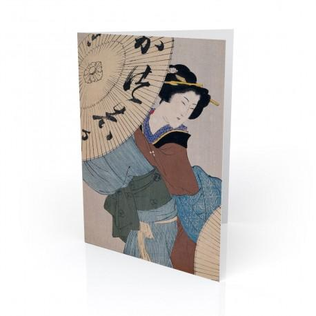 """""""Woman With Umbrella"""" Greeting Card, with Japanese Wood Block Prints Artwork"""