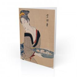 """Woman With Basket of Clams"" Greeting Card, with Japanese Wood Block Prints Artwork"