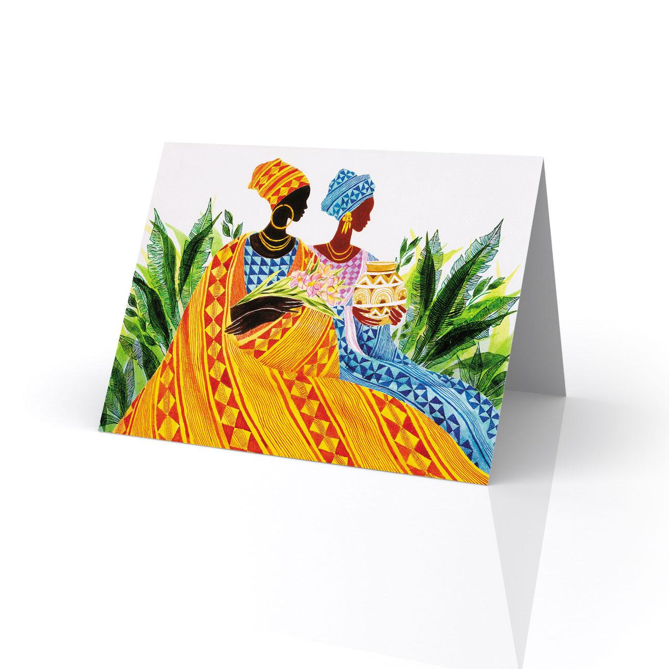 Two Sisters Greeting Card Artwork By Keith Mallett