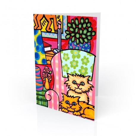 """Cozy Kittens"" Greeting Card, artwork by Hector Guerra"