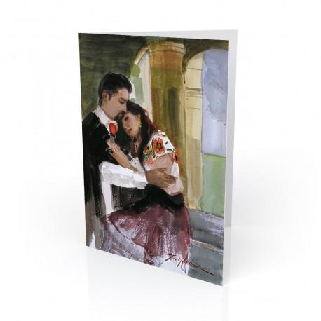 """En el Portal - At the Porch"" Greeting Card, artwork by Israel Martinez"