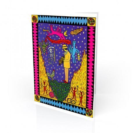"""""""La Noche de Abuelo Tiempo"""" Greeting Card, artwork by Ralfka Gonzalez"""