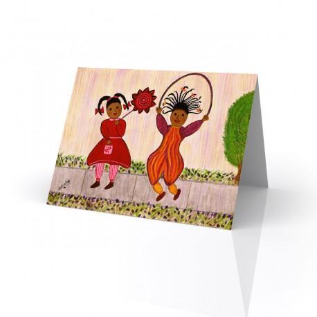 """Playmates"" Greeting Card, artwork by Gloria Lovedlady"