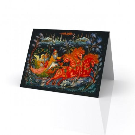 """Troyka"" Greeting Card, with Russian Lacquer Box Artwork"