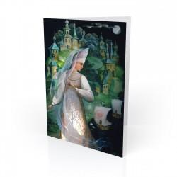 """Lubava"" Greeting Card, with Russian Lacquer Box Artwork"