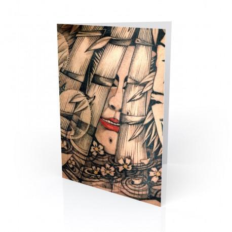 """Whooo R Youuu"" Greeting Card, Tattoo Artcard"