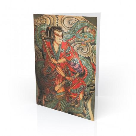 """Homage to Hori yoshi ll"" Greeting Card, Tattoo Artcards"
