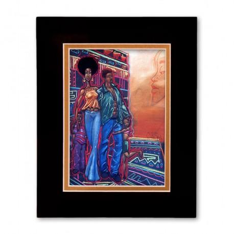 """Family"" Matted Print, art by Carlos Spivey"
