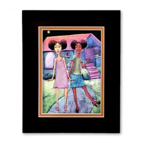 """""""Afropuffs"""" Matted Print, art by Carlos Spivey"""