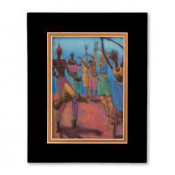 """Blue Sky Dancers"" Matted Print, art by Carlos Spivey"