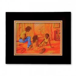 """Girl Friends"" Matted Print, art by Carlos Spivey"
