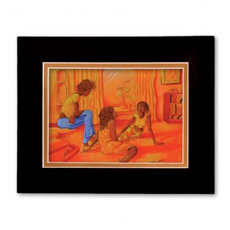 """""""Girl Friends"""" Matted Print, art by Carlos Spivey"""