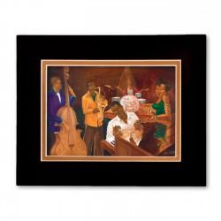 """The Burgandy Room Band"" Matted Print, art by Carlos Spivey"