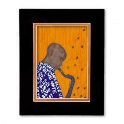 """""""Blue Note"""" Matted Print, art by Aileen Ishmael"""