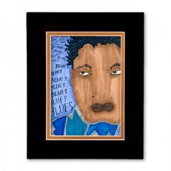 """Blues, Blues, Blues"" Matted Print, art by Aileen Ishmael"
