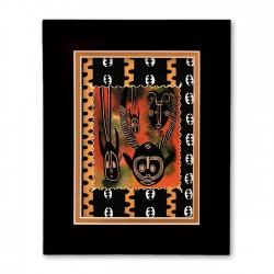 """Masks"" Matted Print, art by Charles Grant"