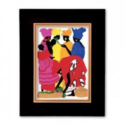 """African Market Place"" Matted Print, art by Edwin Harris"