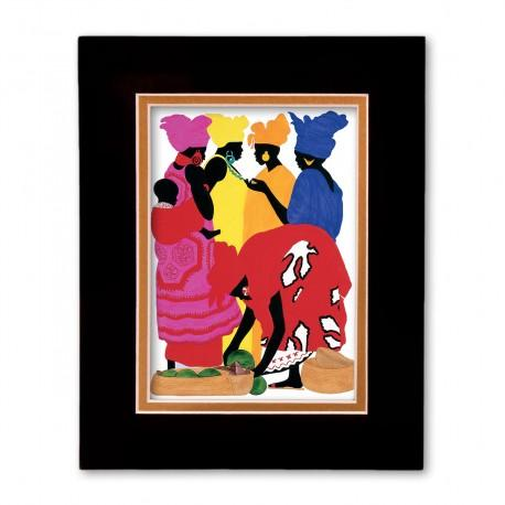 """""""African Market Place"""" Matted Print, art by Edwin Harris"""