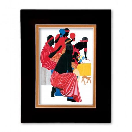 """African Drummers"" Matted Print, art by Edwin Harris"