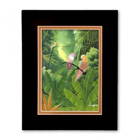 """Tropical Paradise"" Matted Print, art by Albert Bonhomme"
