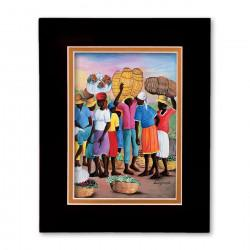 """A Day at the Market"" Matted Print, art by Ernst Joassaint"