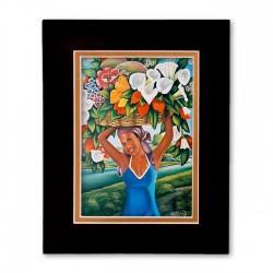 """The Flower Seller"" Matted Print, art by Gerlad Decilien"