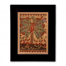 """The Lord Krishna"" Matted Print with  Indian Textile Artwork"
