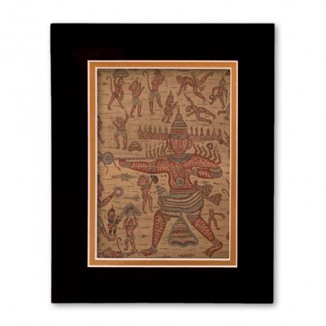 """Scene from the Ramayana"" Matted Print with  Indian Textile Artwork"