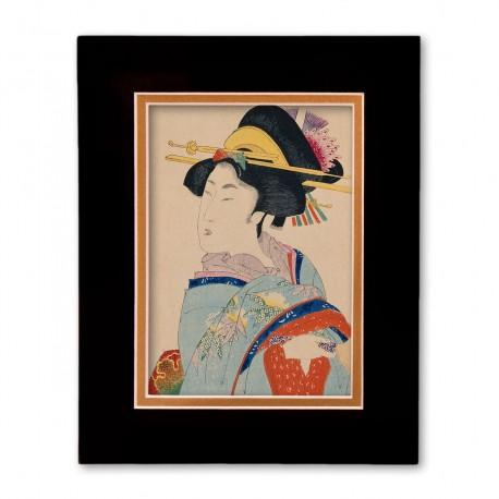"""""""Woman with Hair Ornaments"""" Matted Print with Japanese Wood Block Print Artwork"""