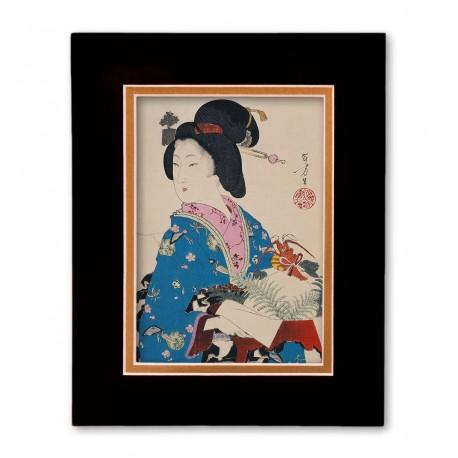 """""""Woman with Lobster"""" Matted Print with Japanese Wood Block Print Artwork"""