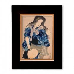 """Woman with Fan"" Matted Print with Japanese Wood Block Print Artwork"