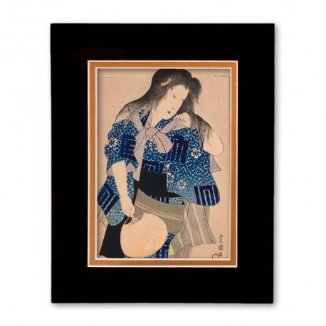 """""""Woman with Fan"""" Matted Print with Japanese Wood Block Print Artwork"""