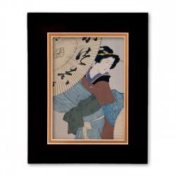 """Woman with Umbrella"" Matted Print with Japanese Wood Block Print Artwork"