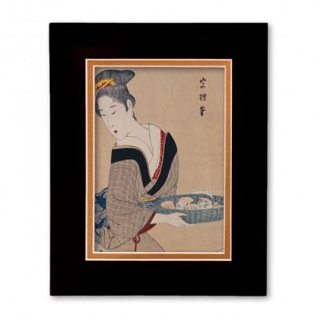 """""""Woman with Basket of Clams"""" Matted Print with Japanese Wood Block Print Artwork"""