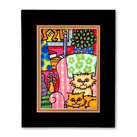 """""""Cozy Kittens"""" Matted Print, art by Hector Guerra"""