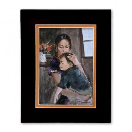 """Amor de Madre - A Mother's Love"" Matted Print, art by Israel Martinez"