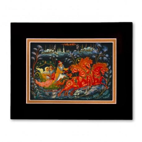 """Troyka"" Matted Print with Artwork of Russian Lacquer Boxes"