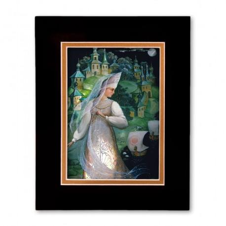 """""""Lubava"""" Matted Print with Artwork of Russian Lacquer Boxes"""