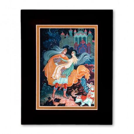"""""""Ruslan and Lumilla"""" Matted Print with Artwork of Russian Lacquer Boxes"""
