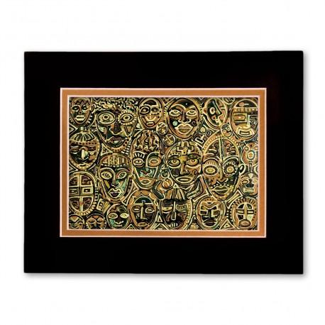 """""""Masks"""" Matted Print, art by Tony DiAngelis"""