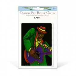 """Jazzman"" Blank packaged cards, artwork by Charles Bibbs"